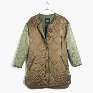 Madewell Rivet and Thread quilted satin coat